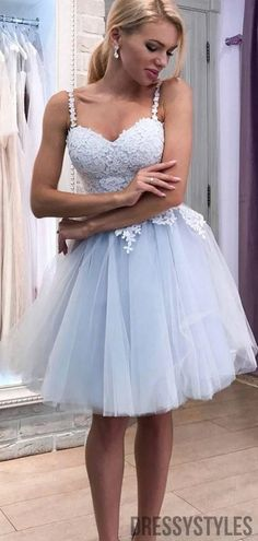 Sky Blue Straps With Lace Homecoming Dresses, BTW307 #homecomingdressesshort #homecomingdressespretty #homecomingdressesgorgeous #homecomingdressestight Lace Party Dresses, Tulle Dress, Prom Dresses, Dance Dresses, Sexy Dresses, Evening Dresses, Dresses Short, Sweet 16 Dresses, Special Dresses
