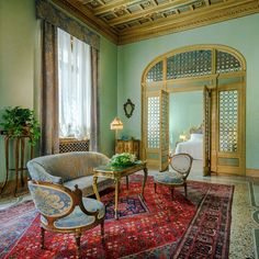 It's been the grande dame of boutique hotels since the 1970s, when the owner's mother pioneered the concept of creating unique rooms and the feel of a country house with eclectic and antique furniture and velvet and silk chaise-longues. In winter, there is always a fire in the Art Deco bar with its Liberty lamp, wrought-iron French doors and deep moreish, armchairs. One-of-a kind features such as a piano with beaded lamps, a bird-cage lift and curved library ladder overload on charm. Green Rooms, Home, Beaded Lamps, Wrought, Furniture, French Doors, Hotel, Art Deco Bar, Fire Doors