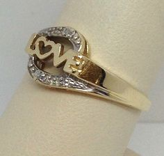 """Cute! 100% 10K Yellow Gold """"Love"""" Ring with White Diamonds Ring Size 7"""