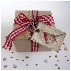 Cross Stitch Christmas Robin Gift Tag by MadeByRachel on Etsy, £3.95