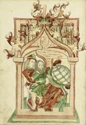 King Avenir and the Hermit, Alsatian, 1469. Ms. Ludwig XV 9, fol. 14v, Diebold Lauber, Hagenau