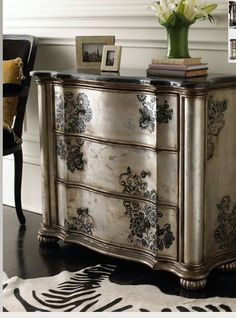 Marble topped dresser repainted with #silvery finish, #stenciled and aged with wax.