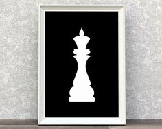 Chess King | King | Chess Piece Print | Minimalist Art | White Chess King | White And Black | Modern Style Decor | Classic Art | Game Room by Creocrux on Etsy https://www.etsy.com/listing/468430911/chess-king-king-chess-piece-print