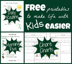 A complete breakdown of a simple daily routine for homeschooling elementary-aged children, including ways to incorporate chores into the schedule. FREE printable chore chart, daily schedule for homeschoolers, good morning things to do, and more!