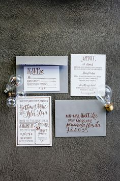 simple wedding invitations - photo by Mirabel Photography http://ruffledblog.com/neo-vintage-industrial-wedding