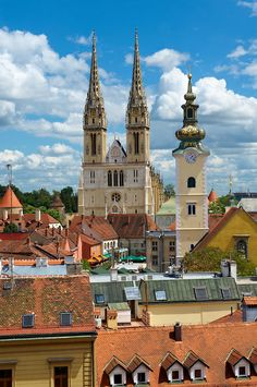 The Zagreb Cathedral (Croatia) rebuilding in the Neo-Gothic style was led by Hermann Bollé. Places Around The World, Oh The Places You'll Go, Cool Places To Visit, Places To Travel, Travel Destinations, Around The Worlds, Zagreb Croatia, Visit Croatia, Croatia Travel