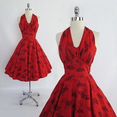 Vintage 50's Red Hawaiian Marilyn Style Halter by bombshellbettys, $168.00