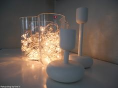 Christmas lights. Iittala Aalto vase and Nappula candle holder
