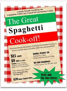 Oh yum! The Great Annual Spaghetti Cook-off to benefit the 4 C's. Be a contestant or a taster. Prizes, games, all kinds of good things.