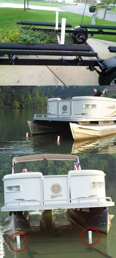 Some boat trailer accessories that will make your life a little bit easier! These post-style guide-ons for pontoon trailers make loading a simple process, and are visible from the water.