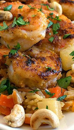 Garlic Lemon Shrimp with Savory Root Vegetable Rice Pilaf