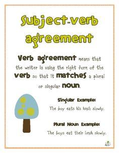 Great Grammar: Subject Verb Agreement | 2!, Student-centered ...