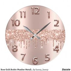 Rose Gold Arabic Number Metallic Blush Glitter Large Clock - Home decor interests Room Decor Bedroom Rose Gold, Rose Gold Rooms, Glam Room, Room Ideas Bedroom, Blush And Gold Bedroom, White Bedroom, Décoration Rose Gold, Rose Gold Decor, Teenage Room Decor