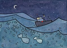 Whale Art Print with Fishing Boat  5x7 by studiotuesday on Etsy, $20.00