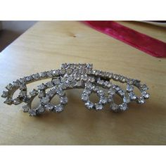 """New Listing Started vintage silvertone bar brooch masses of beautiful clear stones 3""""across new pin £1.55"""