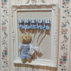 Bom Dia!!!!! Baby Bedroom, Baby Room Decor, Baby Shower Cards, Baby Boy Shower, Baby Crafts, Diy And Crafts, Box Frame Art, Diy Shadow Box, Baby Frame