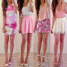 chic, cute, dressy, fashion, girly, heart, heels, love, outfit, pink, skirts, outfit goals