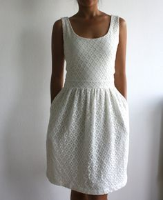 White Eyelet Lace Summer Dress with EcoFriendly Modal Jersey Lining, Open Back Womens Summer Sundress - TRACY