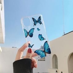 Iphone Cases Discover Transparent Blue Butterfly Cases These protective transparent butterfly cases features bright blue butterflies in the style arrangement of your. Iphone 3, Iphone Phone Cases, Iphone 8 Plus, Iphone Case Covers, Iphone Hacks, Phone Cover, Girly Phone Cases, Pretty Iphone Cases, Diy Phone Case