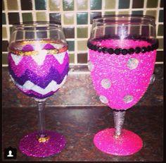 Custom glitter wine glasses glass