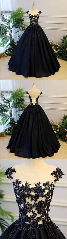 Teen Clothing Black Round Neck Satin Long Top Lace and Beaded Prom Dresses, Evening Dresses, Formal Prom Gowns, Teen Clothing Source : Black Round Neck Satin Long Top Lace Trendy Dresses, Cute Dresses, Beautiful Dresses, Formal Evening Dresses, Evening Gowns, Formal Prom, Prom Long, Formal Gowns, Quinceanera Dresses