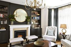 41 Remodeling House Decorations That Make Your Place Look Cool - Luxury Interior Design Fireplace Accent Walls, Accent Walls In Living Room, Fireplace Wall, Living Room With Fireplace, Black Accent Walls, Accent Wall Colors, White Walls, All White Room, Built In Furniture