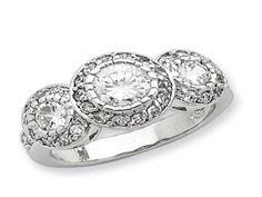 Sterling Silver CZ Three Stone Ring (Online at Gemologica.com)