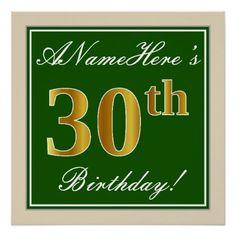 Elegant Green Faux Gold 30th Birthday  Name Poster - birthday gifts party celebration custom gift ideas diy