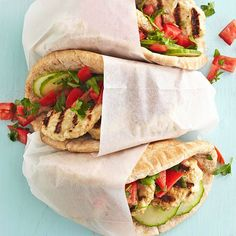 Lighten up traditional gyros by filling whole wheat pita rounds with grilled turkey patties, bright tomatoes, and a homemade cucumber-yogurt sauce. You'll get all the taste of the classic Greek wrap while cutting the fat, sodium, and calories.