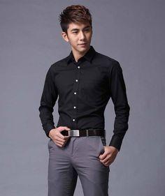 camisas de negocios, casual slim fit estilo de camisas de vestir, ropa para hombre