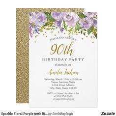 Sparkle Floral Purple 90th Birthday Invite