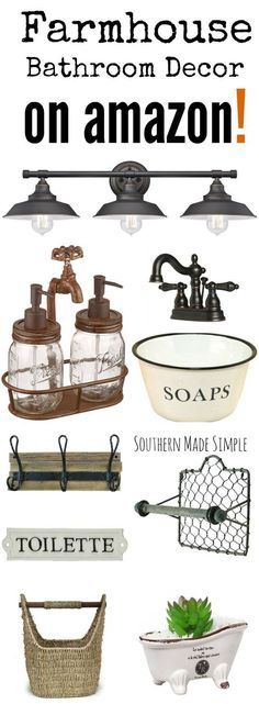 The BEST collection of Farmhouse style decor to spruce up your bathroom, and it's all available on Amazon! Hello, 2 day shipping!