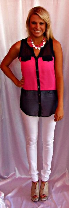 Pink & Navy Button-Down Top: $29.99  White Skinny Jeans: $49.99  Pink Necklace: $34.99  White Necklace: $18.99