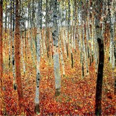 Gustav Klimt | Gustav Klimt Paintings - Gustav Klimt Forest of Beech Trees Painting