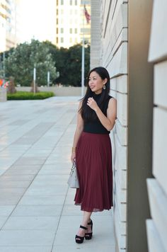 the burgundy pleated skirt & crop top -- H&M high neck crop top, ASOS pleated skirt, Tory Burch robinson mini dome satchel, Target Mossimo coco platform heels, Kendra Scott elle earrings, BaubleBar athena grid cuff, Kendra Scott daisy ring, MAC brick-o-la lipstick, OPI lincoln park after dark. details on jannadoan.com