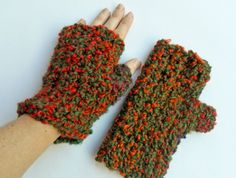 Fingerless Orange - Green Gloves available at Golden Heart Crafts. Check it out! Green Gloves, Golden Heart, Heart Crafts, Fingerless Gloves, Arm Warmers, Orange, Check, Handmade, Fashion