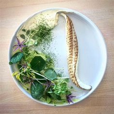 Grilled lemon sole, nasturtium cream, horseradish, dried dill and roasted lemon juice by Chef Jari Vesivalo from Finland.