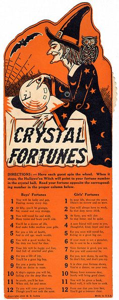 """Crystal Fortunes"" game instruction sheet from the 1940s."