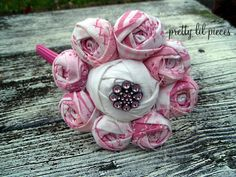 Pink and White big rosette flower headband $15.00