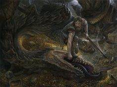 """Scatha possessed a great hoard, stolen from the Dwarves. He was slain by Fram son of Frumgar in the early days of the Éothéod. His recovered hoard was the subject of dispute between the Men of the Éothéod and the Dwarves of that region, who claimed the hoard as theirs. Fram rebuked their claim, and sent them the teeth of the dragon, with the words, """"Jewels such as these you will not match in your treasuries, for they are hard to come by."""" Illustration by Matthew Stewart"""