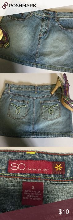 "EUC 👛 SO Denim Mini SO cute!  Perfect washed denim mini.  Bright contrast stitching at seams add a bit of whimsy!  Juniors Size 5.  30"" waist for low rise fit; 13"" length.   A perfect match to my Candies wedges (Size 7); will bundle at additional discount! SO Skirts Mini"