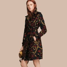 Burberry - FLORAL PRINT SILK WOOL TRENCH COAT