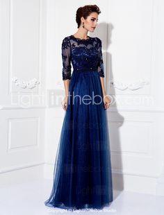 A-line Jewel Floor-length Tulle Evening Dress (9526) - EUR € 136.36