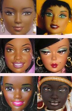 History of African-American Barbie, and their arms don't bend like white Barbies do!