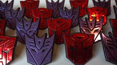Transformers logo shield cupcake rings picks or cake toppers, great for your next robot boy birthday party or as treat bag favors on Etsy, $7.00