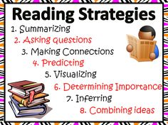 This PDF file includes 8 Reading Strategies posters. The posters included are: 1. Summarizing, 2. Asking questions, 3. Making Connections, 4. Predicting, 5. Visualizing, 6. Determining Importance, 7. Inferring, 8. Combining Ideas. These make for very good visuals to keep posted in the class for students to reference when they are working on reading activities.