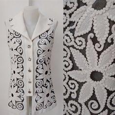 Vintage 60's white flowers black lace Silver lurex by DorisVintage