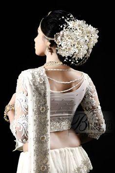 What a beautiful large low bun with real flower gajra! Bollywood Wedding, Saree Wedding, Wedding Bride, Wedding Dresses, Wedding Hair, Wedding Ideas, White Bridal, Bridal Lace, Sri Lankan Wedding Saree