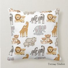 SAFARI ANIMAL PILLOW Baby Nursery Crib Bedding Kids Toddler Jungle Room Decor Jungle Theme Nursery, Baby Animal Nursery, Boys Jungle Bedroom, Jungle Room, Kids Bedroom, Nursery Fabric, Nursery Crib, Baby Nursery Decor, Crib Pillows