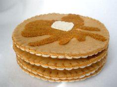 Felt Pancake Coasters MugMats Short Stack by HeartStringsHandmade, $20.00
